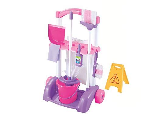 Aurora Store Carrello Grandi Pulizie Giocattolo con Accessori Giochi per Bambini colorato h.58x41x27 cm Secchio Paletta detergente
