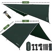 Bessport Camping Bâche Anti-Pluie, PU 3000mm Imperméable Tarp Rain Fly Toile de Tente Parasol Abri de Survie, Tous Temps pour extérieur, Équipement de Camping et randonnée (3m x 3m)