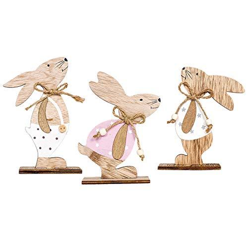 Darringls Décoration de Pâques, Decoration de Paques Lapin,Deco Paques Pâques Lapin en Bois pour La Décoration et Les Cadeaux (15x9.5cm, G-3PCS)