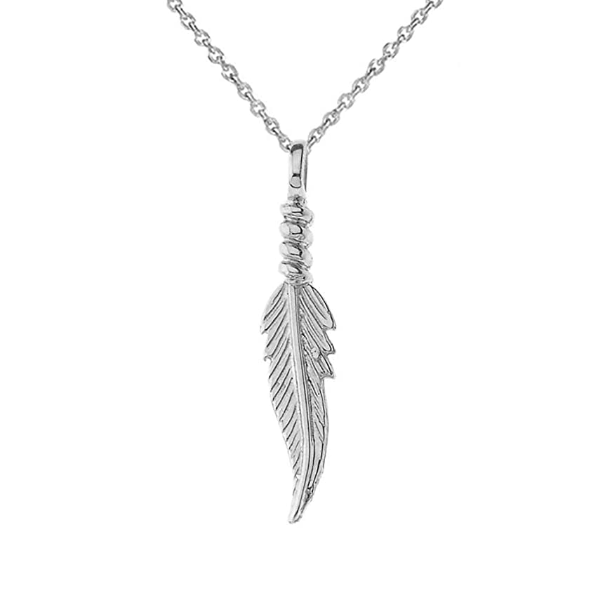 Dainty Sterling Silver Feather Charm Pendant Necklace