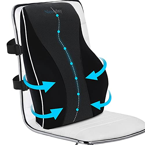 Lumbar Support Pillow for Office Chair Memory Foam Lumbar Cushion for Car Ergonomic Design for Coccyx and Tailbone, Low Back Pillow Chair Cushions - Perfect for Office Chairs and Car Seats
