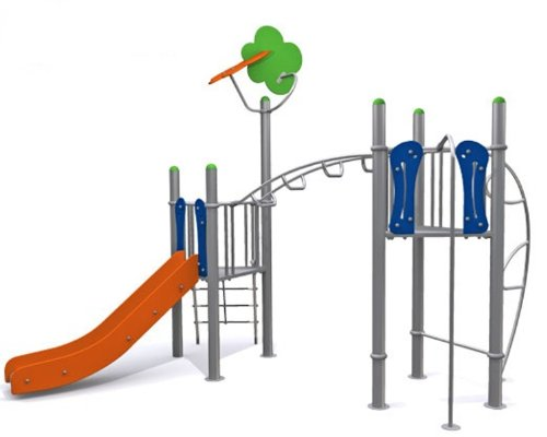 Loggyland Spielturm METALLIC III mit Rutsche, Rutschstange und Hangelmöglichkeiten - für öffentliche Spielplätze & Einrichtungen