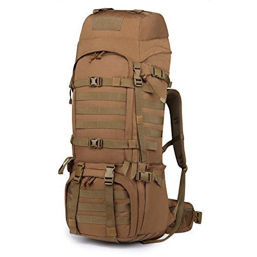 Mardingtop 65L Molle Hiking Internal Frame Backpacks with Rain Cover Khaki-65L