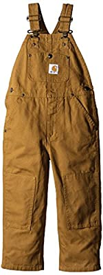 Carhartt Boys' Toddler Bib Overalls (Lined and Unlined), Brown Canvas, 4