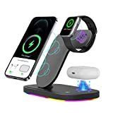 Xoopar Wireless Charging Station, 3 in 1 Wireless Charger Dock for Apple Watch 6 Airpods Pro, 15W Qi Fast Charger Stand Holder Compatible with iPhone 8 11 12 Mini Pro XR/X/XS Max