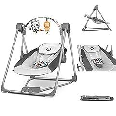 Lionelo Otto Baby Wip Baby Swing Play Bow met interactieve speelgoed 5 Swing snelheden natuurlijke geluiden vanaf de geboorte tot 9 kg inklapbaar grijs *