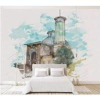 Iusasdz 3Dcustom壁紙3D壁画手描き抽象的なレトロ建築城油絵壁画ソファ背景壁紙250X175Cm