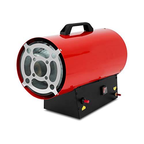 EBERTH 30 kW Direkt-Gasheizgebläse (inkl. Gasschlauch und Druckregler, Überhitzungsschutz, integriertes Thermostat, Piezozündung 230 V, Gasventil mit Flammenkontrolle, Tragegriff)
