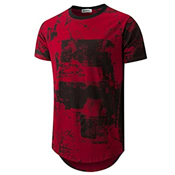 KLIEGOU Mens Hipster Hip Hop Ripped Round Hemline Pattern Print T Shirt 86 Red Wine XL