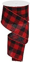 Wired Red Fabric Lumberjack Buffalo Plaid Ribbon, 2.5