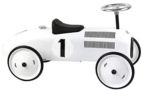 OTTO Porteur Bebe - Voiture de Course Retro en Metal vilac - Coloris Blanc Polaire - des 18 Mois / 20 kg Max