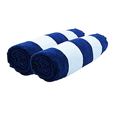 Lara Cabana 100% Turkish Cotton Beach Towel Pool Spa Bath Extra Soft & Large (35  x60) by Corner4Shop (Navy 2 Pack)