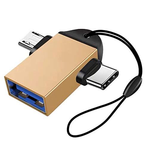 Adaptador de transmisión de Datos Micro USB OTG Tipo C 2 en 1 para Tableta de Mouse (Dorado)