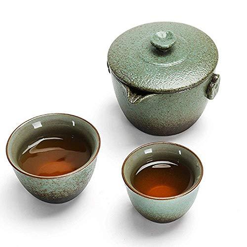 LHQ-HQ Juego de té empaquetado en Caja de Regalo excelente Decoración Esmalte Estilo japonés de la Tetera con asa y Juegos de té Copas Service Set Taza y Plato (Color: Verde, Tamaño: un tamaño)