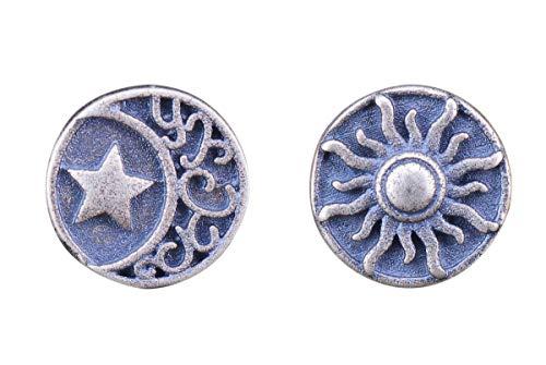 NicoWerk Damen Silber Ohrstecker Sonne Mond Stern aus 925 Sterling Silber Rund Vintage Geschwärzt SOS375