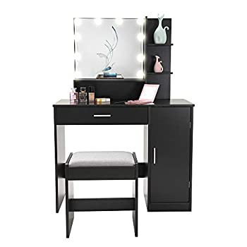 USIKEY Vanity Table Set with 10 Light Bulbs Makeup Table with 1 Large Drawer & 1 Storage Cabinet Dressing Vanity Table Dresser Desk with Cushioned Stool for Bedroom Bathroom Black