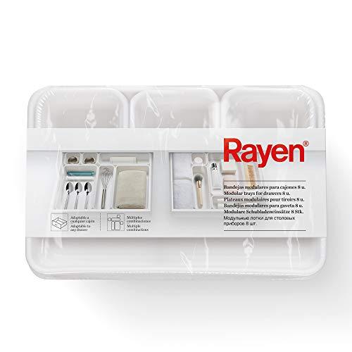 Rayen Bandejas modulares para cajones 8 u, Blanco, Medidas: 3 uds.: 8 x 7,5 x 4,5 cm. / 3 uds.: 23,3 x 8 x 4,5 cm. / 2 uds.: 23,5 x 16 x 4,5 cm