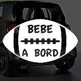Sticker bébé à bord pour voiture Ballon Rugby 20 cm Blanc - Anakiss