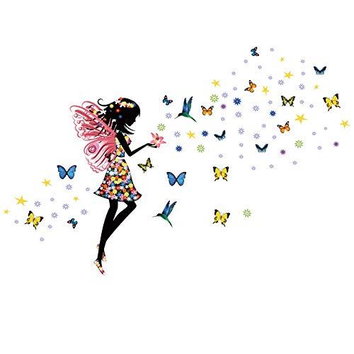 Kibi Wandaufkleber Elf Blumen Wandtattoo Prinzessin Elf Blumen Sticker Wandaufkleber Mädchen Blume Wandaufkleber Wandaufkleber Schlafzimmer Kinder