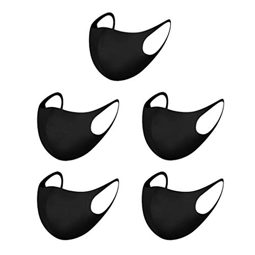 Xinsoode 5 Stück Stoff Mundschutz für Erwachsene, Wiederverwendbare Bandana Einfarbig Maske Weihnachten Gesichtsschutz Staubdicht Atmungsaktiv Waschbar Mund-Nasen Bedeckung Schwarze Schal 28TN (G-4)