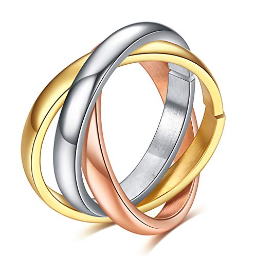 LONG-D Titanium Steel Ring Stainless Ring Triad Steel Wedding Engagement Ring for Woman Three Color Girl's Rings,A,6= 16mm