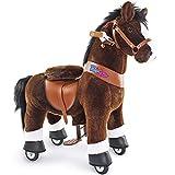 PonyCycle Officiel Classique Modèle U 2021 Monter à cheval Animal qui marche Cheval brun foncé à roues avec frein et son pour 3 à 5 ans petit Ux321