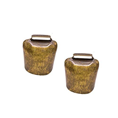 HEALLILY 2 Stücke Kuhglocke Ziegenglocke Hängende Glocke kleine Antike Eisen Glocke in antikgold Klangvolle Kuhglocke Glockenschelle Größe M