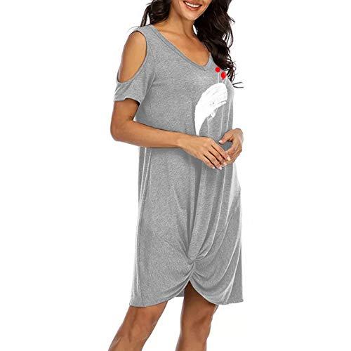 Yowablo Kleid Frauen Mode trägerlos Binden Sie den Knoten V-Ausschnitt Kurzarm Freizeitkleid (XXL,1Grau)