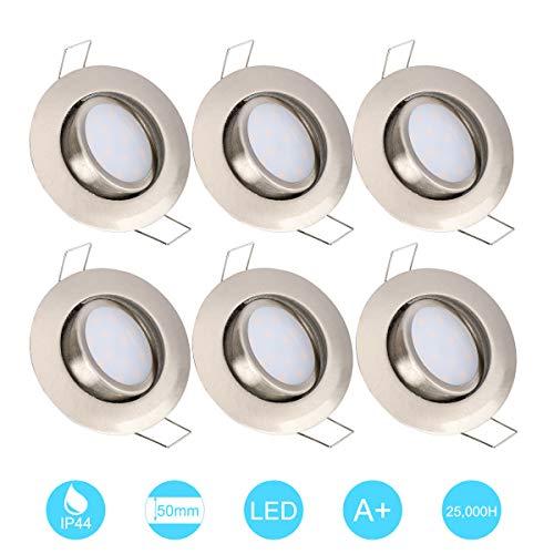 6W LED Empotrable Foco de Techo LED IP44 3000K Blancos Cálidos, Níquel Mate (no se necesita conductor) para baño/ducha/sofitos/cocina