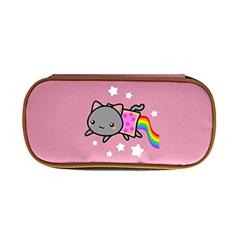 Big Capacity Pencil Case, Make-up Bag, Pen Case Durable Students Stationery With Double Zipper - Nyan Cat