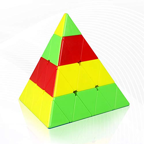 FunnyGoo Mofangge 4x4 Pyramid Triangle Pyraminx Magic Cube Speed Puzzle cube with One Display Stand (Stickerless)