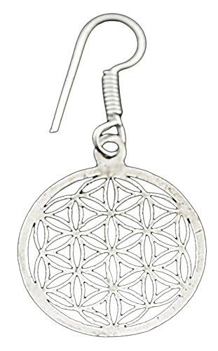 Pendientes de latón plateado, diseño de flor de la vida, diámetro 2,4 cm, con bolsa brocado
