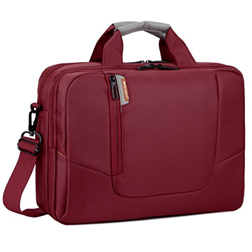 BRINCH 15.6 Inch New Soft Nylon Shockproof Laptop Computer Case Sleeve Shoulder Messenger Bag Briefcase with Pockets Handles and Detachable Shoulder Strap for 15 - 15.6 Inch Laptop / MacBook / Notebook / NetBook / Chromebook / Tablet Computers,Colour Red
