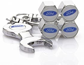 D&R Wrench Keychain Chrome Tire Valve Stem Caps for Ford