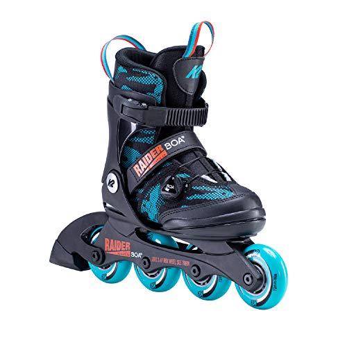 K2 Skates Jungen Raider Boa Inline Skates, Black-Turquise, 35-40 EU