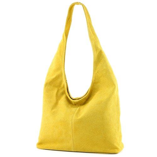 modamoda de - T150 - ital Schultertasche aus Leder Wildleder, Farbe:Gelb