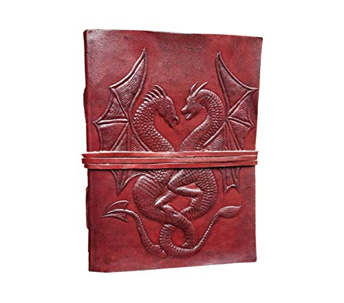 Incredible Antique Arts Handmade Vintage Embossed Leather Journal (Double Dragon With Leather Strap Closure)
