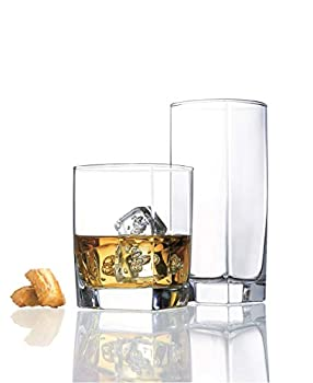 Durable Drinking Glasses Set of 16 | Glassware Set Includes 8 Highball Glasses  16 oz  8 Rocks Glasses  13 oz   Heavy Base Glass Cups for Water Juice Beer Wine and Cocktails
