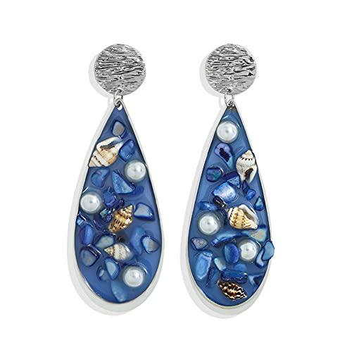 GGSDDU Pendientes largos retro para mujer colgante,Resina con incrustaciones de piedra de concha,Forma de gota aleación cuelga pendientes estilo étnico joyería del oído,Azul