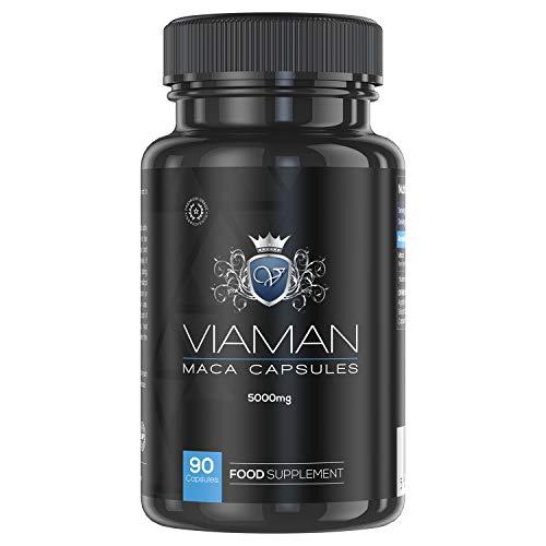 Maca Andina Cápsulas Pura Concentrada Vegana Alta Dosis 5000 mg - Aumenta Testosterona, Rendimiento Masculino, Concentración y Energía, Potenciador Masa Muscular, Estimulante Natural, 90 Cápsulas