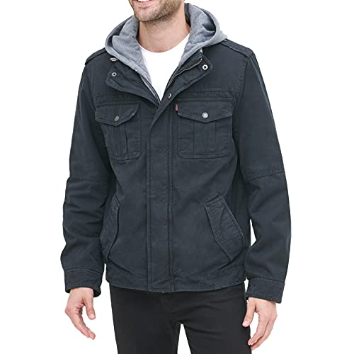 Levi's Men's Washed Cotton Hooded Military Jacket, Navy, Medium