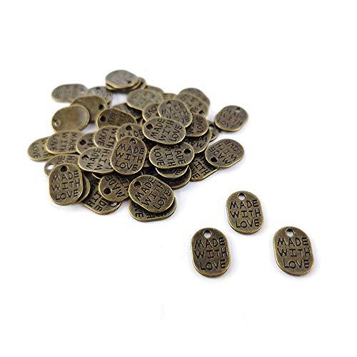 Oferta al por mayor: 5 paquetes de 50+ steampunk bronce tibetano 11mm hecho con encanto de amor/colgante W5-ZX02755 (cuentas encantadoras)