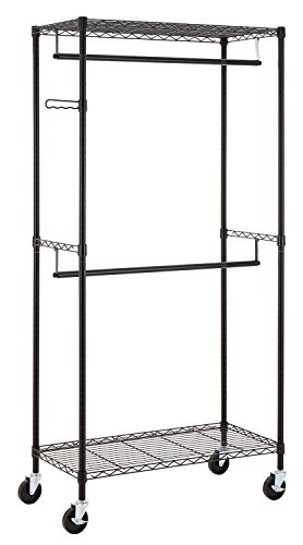 Finnhomy Heavy Duty Rolling Garment Rack Clothes Rack with Double Hanger Rods and Shelves Portable Closet Organizer with Wheels 1 Diameter Thicken Steel Tube Hold Up to 300Lbs Black