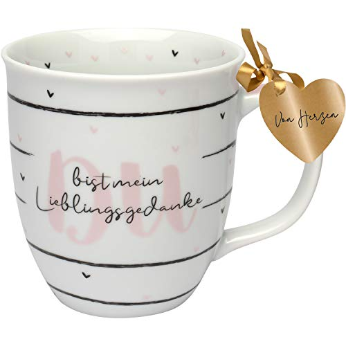 GRUSS & CO 46748 Kaffeebecher mit Spruch, Lieblingsgedanke, Porzellan, 40 cl
