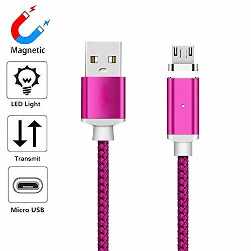 YANSHG (1M/2M/3M) Magnetisches USB Micro Cable Langlebiges Geflochtenes LED Ladekabel für Samsung Galaxy S2 S3 S4 S6, Note 2/3, LG G4 G3, Nexus, Nokia und weitere Android Geräte