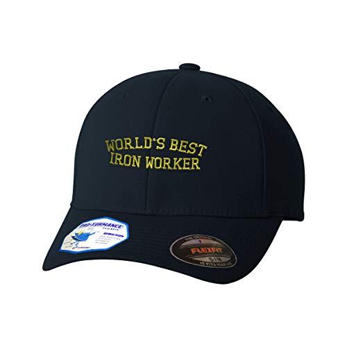 Flexfit Hats for Men & Women Worlds Best Iron Worker Embroidery Polyester Dad Hat Baseball Cap Dark Navy Design Only Small Medium