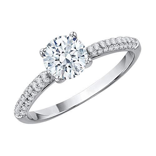 KATARINA Anillo de compromiso solitario con diamantes en oro blanco de 14 k (1 quilate, J-K, SI2-I1) (tamaño 6,5)