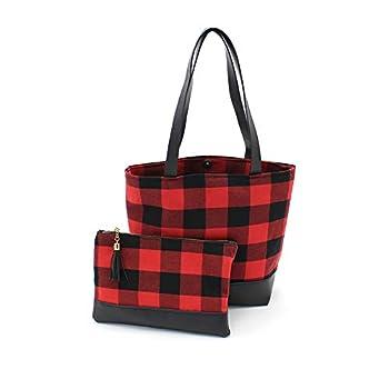 Buffalo Plaid Tote Bag Clutch Bag for womens with Buffalo Makeup Cosmetic Bag Claus tote Set  tote bag & Cosmetic Bag set