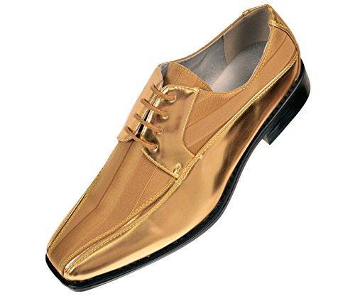 Viotti 179 - Mens Shoes - Oxford Shoes for Men - Mens Casual Dress Shoes, Wedding Shoes Striped Satin, Patent Tuxedo - Dress Shoes for Men; Color: Gold, 7.5
