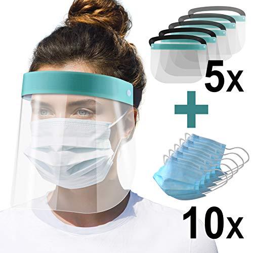 5X Gesichtsschutz-Schirm Augenschutz Face-Shield Schutzschild Gesichtsschirm türkis + 10x Mund-Nasen-Schutz Maske (1)